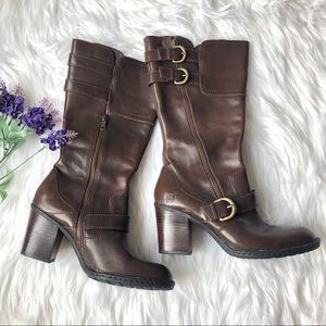 Born Treddy Brown Leather Heeled Boots Buckles 7.5